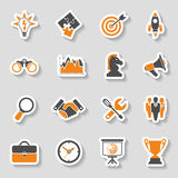 Business Strategy Icon Sticker Set. Business Icon Sticker Set - Finance, Strategy, Idea, Research, Teamwork, Success. Vector in two color Stock Image