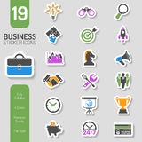 Business Strategy Icon Sticker Set. Business Icon Sticker Set for Flyer, Poster, Web Site Like Finance, Strategy, Idea, Research, Teamwork, Success. Vector in Royalty Free Stock Photos