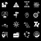 Business strategy icons - black series. Set of 16 business strategy icons with reflection, black series Stock Photo