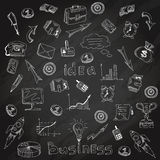 Business strategy icons blackboard chalk sketch royalty free illustration