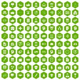 100 business strategy icons hexagon green. 100 business strategy icons set in green hexagon isolated vector illustration Stock Photos