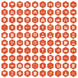 100 business strategy icons hexagon orange. 100 business strategy icons set in orange hexagon isolated vector illustration Royalty Free Stock Images