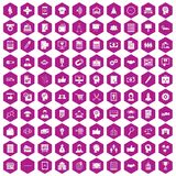 100 business strategy icons hexagon violet. 100 business strategy icons set in violet hexagon isolated vector illustration Vector Illustration