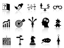 Business strategy icons set Stock Photos