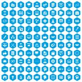 100 business strategy icons set blue. 100 business strategy icons set in blue hexagon isolated vector illustration Royalty Free Stock Image