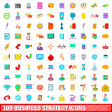 100 business strategy icons set, cartoon style. 100 business strategy icons set in cartoon style for any design vector illustration Royalty Free Illustration