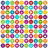 100 business strategy icons set color. 100 business strategy icons set in different colors circle isolated vector illustration royalty free illustration