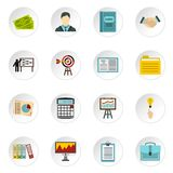 Business strategy icons set, flat style. Business strategy icons set. Flat illustration of 16 business strategy vector icons set illustration Stock Photography