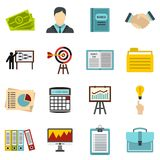 Business strategy icons set, flat style. Business strategy icons set. Flat illustration of 16 business strategy vector icons for web Stock Photography