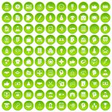 100 business strategy icons set green. 100 business strategy icons set in green circle isolated on white vectr illustration Royalty Free Stock Photo