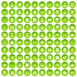 100 business strategy icons set green circle. Isolated on white background vector illustration Royalty Free Stock Photo