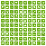 100 business strategy icons set grunge green. 100 business strategy icons set in grunge style green color isolated on white background vector illustration Stock Image