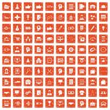 100 business strategy icons set grunge orange. 100 business strategy icons set in grunge style orange color isolated on white background vector illustration Royalty Free Stock Photography