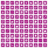 100 business strategy icons set grunge pink. 100 business strategy icons set in grunge style pink color isolated on white background vector illustration Stock Photo