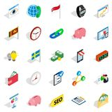 Business strategy icons set, isometric style. Business strategy icons set. Isometric set of 25 business strategy vector icons for web isolated on white Royalty Free Stock Images