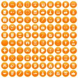 100 business strategy icons set orange. 100 business strategy icons set in orange circle isolated on white vector illustration Royalty Free Illustration