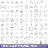 100 business strategy icons set, outline style Royalty Free Stock Image