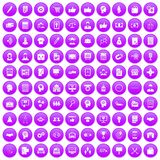 100 business strategy icons set purple. 100 business strategy icons set in purple circle isolated on white vector illustration Royalty Free Stock Photo