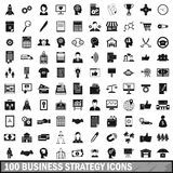 100 business strategy icons set, simple style. 100 business strategy icons set in simple style for any design vector illustration Royalty Free Stock Photos