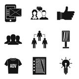 Business strategy icons set, simple style. Business strategy icons set. Simple set of 9 business strategy vector icons for web isolated on white background Stock Photos