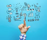 Business strategy ideas with hand royalty free stock image