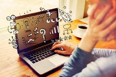 Business strategy ideas with man using a laptop. Computer royalty free stock photo