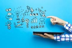 Business strategy ideas with a tablet computer stock photo