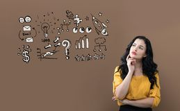 Business strategy ideas with young businesswoman royalty free stock photo