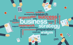 Business strategy infographics poster with. Businessmen working around the word cloud. Analysis and planning keywords. Office objects. Eps10 vector illustration Royalty Free Stock Images