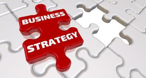Business strategy. The inscription on the missing element of the puzzle royalty free illustration