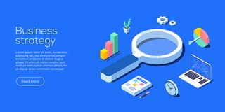 Business strategy isometric vector illustration. Data analytics vector illustration