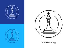 Chess king figure line art vector icon. Business strategy line art icon, investment tactics vector art, outline king of sales illustration Stock Images