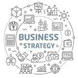 Business strategy Linear illustration slide for the presentation. White Bg Linear illustration slide for the presentation Royalty Free Stock Images