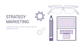 Business Strategy Marketing Concept Corporate Planning Web Banner With Copy Space. Vector Illustration Royalty Free Stock Images