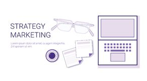 Business Strategy Marketing Corporate Planning Web Banner With Copy Space. Vector Illustration Royalty Free Stock Photos