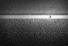 Business Strategy Pathway. Concept as a businessman leader running through an opening in a confused labyrinth as a corporate career success metaphor or life Stock Image