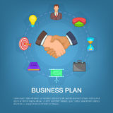 Business strategy plan concept, cartoon style. Business strategy plan concept set. Cartoon illustration of business strategy plan vector concept for web Stock Photo