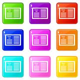 Business strategy plan set 9. Business strategy plan icons of 9 color set isolated vector illustration Royalty Free Stock Photos