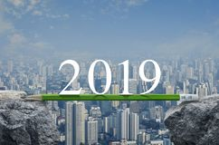 Business strategy planning concept, Happy new year 2019 calendar cover royalty free stock image