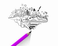 Business strategy. Planning concept with pencil drawing business strategy sketches Royalty Free Stock Photography