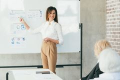 Successful business woman corporate briefing royalty free stock image