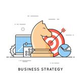 Business strategy, planning, project management, financial. Analytics. Flat line art style concept. Vector banner, icon, illustration Editable stroke Royalty Free Stock Photography
