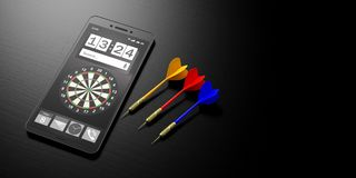 Business strategy.Target on a smartphone screen and arrows on black background, banner, copy space. 3d illustration. Business aiming concept. Dartboard on a Royalty Free Stock Photo