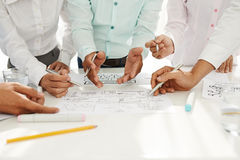 Business strategy. Team discussing business strategy at the briefing royalty free stock images