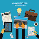 Business strategy, template, banner, business concept, vector illustration in flat design  Stock Photos