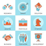Business Strategy Thin Lines Color Web Icon Set Stock Images