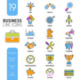 Business Strategy Thin Lines Color Web Icon Set Stock Photos