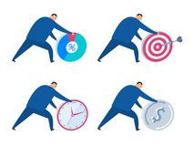 The business strategy, time management, achievement flat vector. The business strategy, time management, target achievement and development concept. Businessman Stock Photo