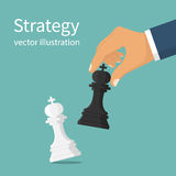 Business strategy vector. Business strategy. Strategist holding in hand chess figure black king. Victory in battle. Concept planning and management. Vector Stock Images