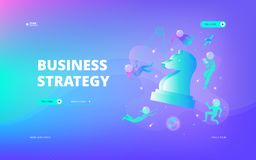 Business strategy web banner. NVector illustration of developers in spacesuits floating around big symbolic chess figure in space. Hero image and web banner stock illustration